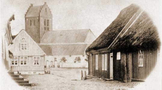 Båstad kyrka och torget före branden 1870.