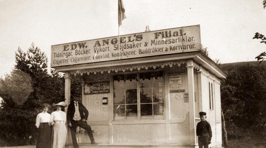 Angels kiosk i hörnet Allévägen/Havsbadsvägen. Byggdes 1908, revs 1987
